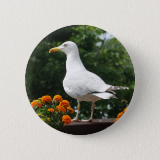 Floral Seagull Button