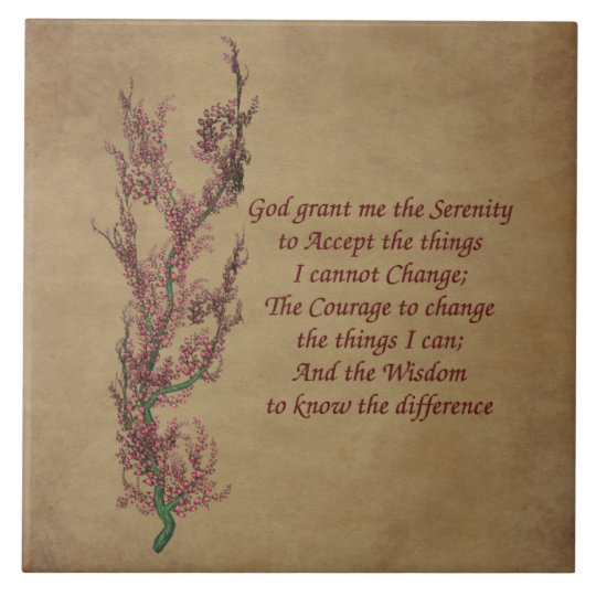 Floral Serenity Prayer Inspirational Quote Tile