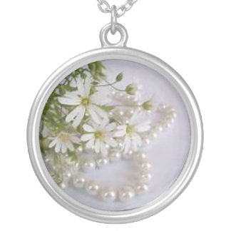 floral series, accessories silver plated necklace