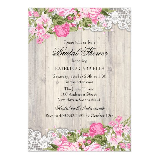 Floral Shabby Chic & Lace Bridal Shower Invite
