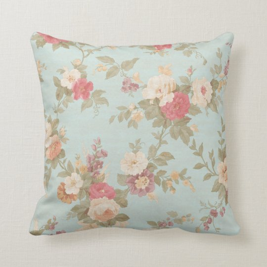 Floral Shabby Chic Pink Rose Flowers Blue Cushion