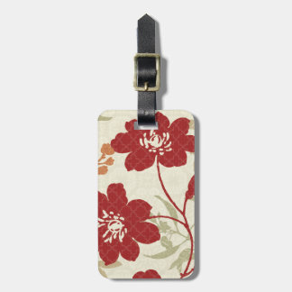 Floral Shadows in Red and Orange Luggage Tag