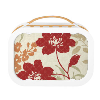 Floral Shadows in Red and Orange Lunch Box