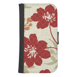 Floral Shadows in Red and Orange Samsung S4 Wallet Case