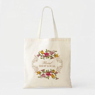 Floral Shop Local Vintage Flowers Wreath Decor Budget Tote Bag