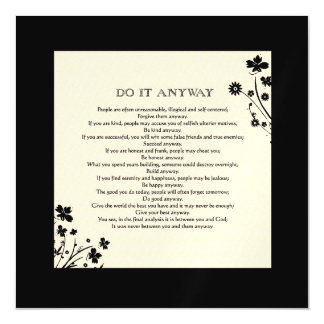 Floral Silhouette Do It Anyway Magnetic Invitations