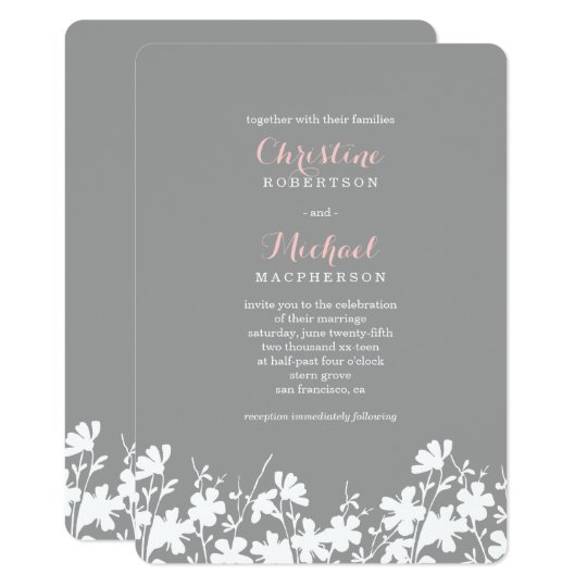 Floral Silhouette Grey Pink | Wedding Invitations