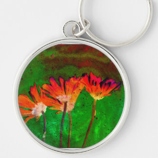 Floral Silver-Colored Round Key Ring