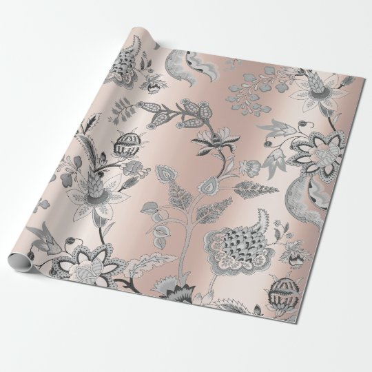 Floral Silver Gray Pink Rose Pearly Blush Orichid