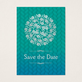 Floral silver teal, Save the date Business Card