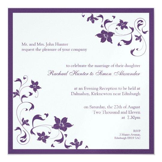 Floral Simple Wedding Invitation - Purple