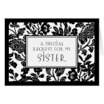 Floral Sister Maid of Honour Invitation Card