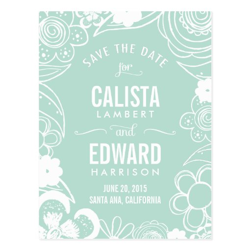 Floral Sketch Save The Date - Editable Color Postcard