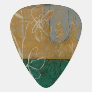 Floral Sketch with Wildflower and Plants Guitar Pick