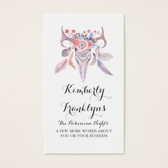 floral skull boho watercolor business card