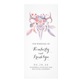 floral skull boho watercolor wedding programs rack card