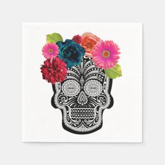 Floral Skull Cocktail Napkin Paper Serviettes