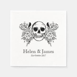 Floral skull illustration napkin paper napkin