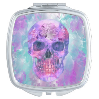 Floral skull in watercolor travel mirrors