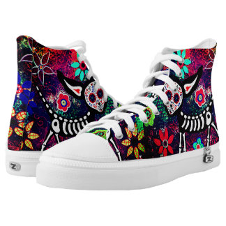 floral skull kitty unisex high tops shoes