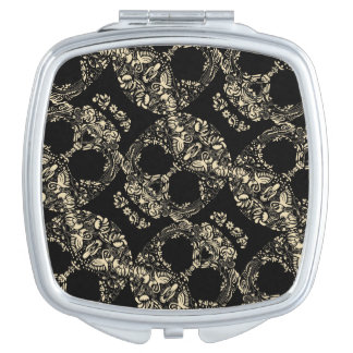 Floral skull pattern mirrors for makeup