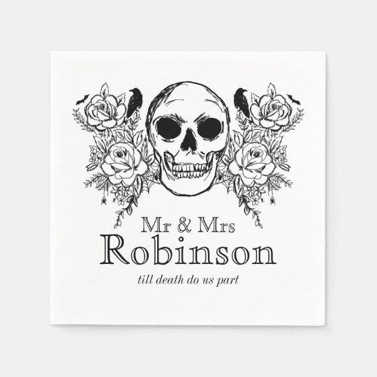 Floral skull till death do us part napkin