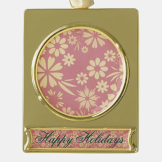 Floral, soft, girly, chic, pink, peach, trendy gold plated banner ornament