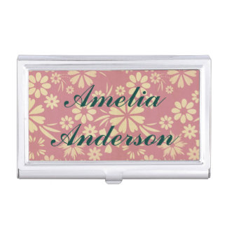 Floral, soft, girly, chic, pink, peach, trendy business card holder