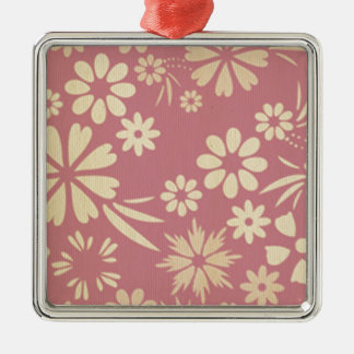 Floral, soft, girly, chic, pink, peach, trendy, square metal christmas ornament