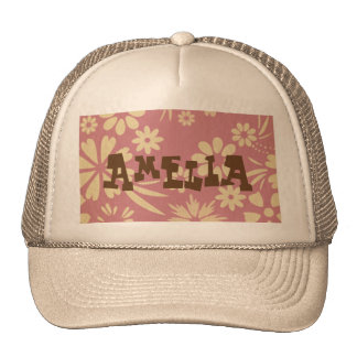 Floral, soft, girly, chic, pink, peach, trendy, trucker hat