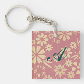 Floral, soft, girly, chic, pink, peach, trendy Double-Sided square acrylic key ring