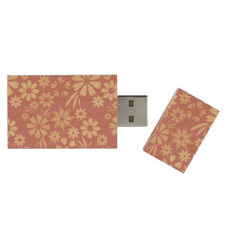 Floral, soft, girly, chic, pink, peach, trendy wood USB 2.0 flash drive