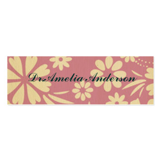 Floral, soft, girly, chic, pink, peach, trendy pack of skinny business cards