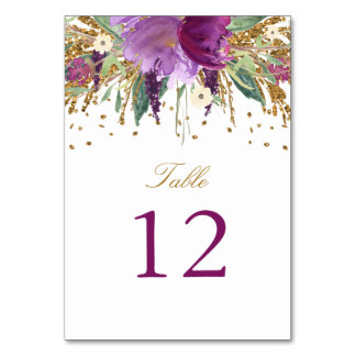 Floral Sparkling Amethyst Table Number Card