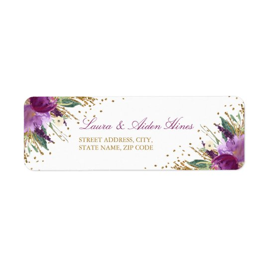 Floral Sparkling Amethyst Wedding Address Labels