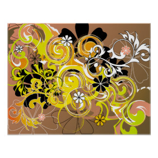 floral spirals posters