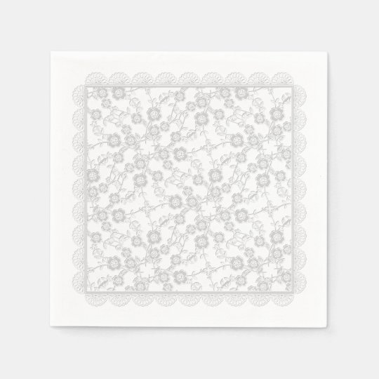 Floral Spray,Lace-Bridal White-PAPER PARTY NAPKINS Paper Serviettes