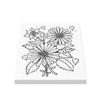 Floral Spray Line Art Design Canvas Print