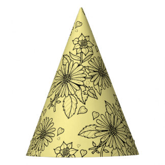 Floral Spray Line Art Design Party Hat