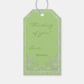 Floral Spray-SPRING GREEN-WHITE-GIFT TAGS