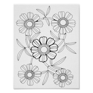 Floral Spray Three Adult Coloring Page Poster