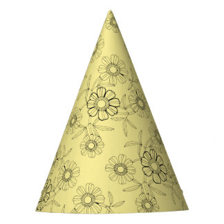 Floral Spray Three Line Art Design Party Hat