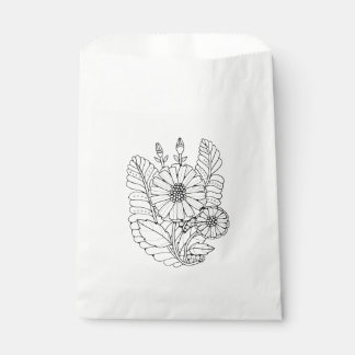Floral Spray Two Line Art Design Favour Bags