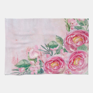 Floral Spring Rose Greatings-Pastell Roses Flowers Tea Towel