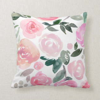 FLORAL SPRING WATERCOLOR ROSES PILLOW