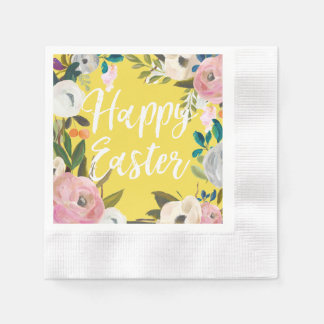 Floral Spring Yellow Happy Easter Paper Napkins