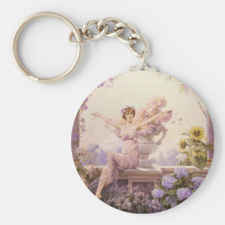 Floral Sprite Basic Round Button Key Ring