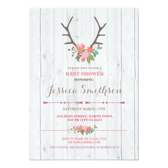 Floral Stag Rustic Flowers Baby Shower Invitation
