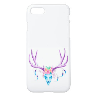 Floral Stag Skull Glossy Iphone 7 Case