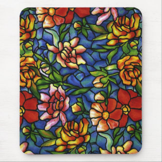 Floral Stained Glass Mouse Mat